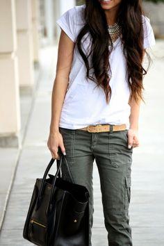 cute not-jeans option. love the belt.