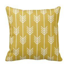 Modern Arrow Fletching Pattern Mustard Yellow Pillow
