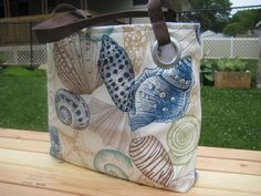 Medium / Seashells / Blue / Brown / Tan / Beach Bag / by CynsSewin