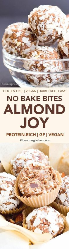 No Bake Gluten Free Almond Joy Energy Bites (V, GF, DF): a one bowl recipe for protein-packed energy bites bursting with Almond Joy flavors, made with simple ingredients. #Vegan #GlutenFree #DairyFree | BeamingBaker.com