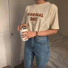 korean fashion soft grunge outfits ulzzang girl kfashion tshirt jeans 얼짱 comfy casual clothes spring summer autumn winter school street everyday aesthetic soft minimalistic kawaii cute g e o r g i a n a : c l o t h e s Hipster Outfits, Korean Outfits, Mode Outfits, Casual Outfits, Casual Clothes, Diy Clothes, Baggy Clothes, 90s Fashion, Korean Fashion