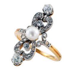 Edwardian Pearl & Diamond Ring