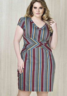 Coloured striped dress Plus Size Short Dresses, Plus Size Peplum, Plus Size Party Dresses, Simple Dresses, Plus Size Dresses, Plus Size Outfits, Casual Dresses, African Fashion Dresses, African Dress