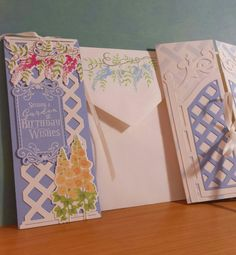 PTI Garden Gate, gate fold card. DB 2016. Bookmark tucks is as a Birthday wish. Stamped flap of envelope, Hollyhocks on front.