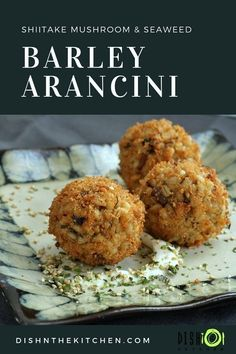 These Vegan Shiitake Mushroom Barley Arancini are a Japanese twist on an Italian favourite. This recipe uses nutritional yeast and seaweed to replicate the umami flavour of traditional Parmesan cheese. Easy Vegetarian Dinner, High Protein Vegetarian Recipes, Vegan Recipes, Vegan Vegetarian, Delicious Recipes, Italian Recipes, Barley Nutrition, Cheese Nutrition, Vegan Appetizers