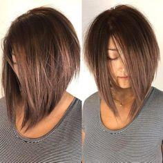 Messy Angled Bob for Pin Straight Hair Edgy Bob Haircuts, Bob Hairstyles For Thick, Pretty Hairstyles, Curly Hairstyles, Wedding Hairstyles, Layered Haircuts, Bobs For Thick Hair, Angled Haircut, Stacked Hairstyles