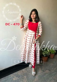 DC Beautiful red and white color combination knee length anarkali dress. For queries kindly WhatsApp : 9059683293 15 January 2018 Long Dress Design, Dress Neck Designs, Designs For Dresses, Kalamkari Dresses, Ikkat Dresses, Simple Kurta Designs, Kurta Designs Women, Kurta Patterns, Dress Patterns