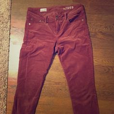 Red Corduroy pants Great Corduroys! Only worn a few times. Stretchy and comfortable. Machine washable. GAP Pants Skinny