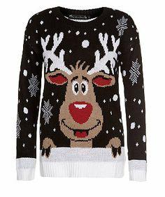 Black (Black) Mela Black Reindeer Christmas Jumper   299056001   New Look