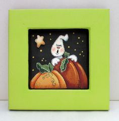 Small Single White Ghost and Orange Pumpkins by barbsheartstrokes