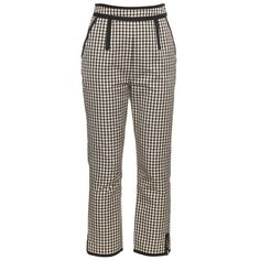 Isa Arfen High-waisted checked cotton-blend trousers ($200) ❤ liked on Polyvore featuring pants, checked pants, checkered pants, brown high waisted pants, brown pants and checked trousers