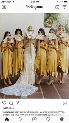 Some sort of fan like bridesmaid bouquet would be amazing! I know it's supposed to be hot out the day of my wedding, so anything that the ladies could use to help cool down would be lovely. Perfect Wedding, Dream Wedding, Boho Wedding Ring, Spring Wedding, Wedding Reception, Robes Glamour, Yellow Bridesmaids, Wedding Bridesmaids, Bridesmaid Bouquet