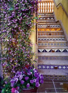 Mexican tile staircase via Tierra y Fuego Artistic Handcrafted Tile. #tile #staircase #stairs #steps #stairway #riser #Mexican #Spanish #Hacienda