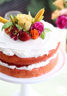 Strawberry Rhubarb Cake | Inspired by Charm @inspiredbycharm