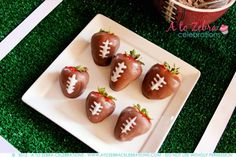 Love these #Football Strawberries. Great #Superbowl Party Dessert Idea by @Angie O'Gorman Zebra