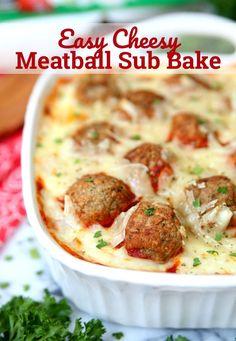 Easy Cheesy Meatball Sub Bake