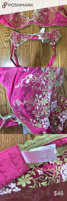 NWT garter belt and NWOT Victoria's Secret bra Gorgeous pink lace with flower embroidery bra and matching gater. The garter is NWT, and the bra is NWOT, only tried on.  Bra is size 36C and garter is Small or xs Beautiful lingerie!!! Victoria's Secret Intimates & Sleepwear Bras