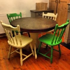 Chairs painted in Cream and Antibes green I think makes a wonderful contrast Antibes Green, Annie Sloan Chalk Paint, Dining Chairs, Contrast, Cream, Projects, Furniture, Home Decor, Creme Caramel