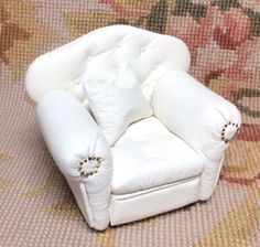 "Pat Tyler Artist Made Handcrafted OOAK shiny White Genuine Leather Chair is embellished with hand tufting, buttons and hand inserted nail heads with 1 Pillows, measures approximately 3 1/2"" Wide, 3"" H"