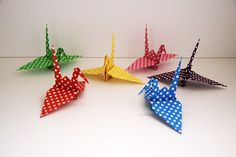 Paper Crane ツル papercrane origami ドット柄 千代紙 折り紙 おりがみ 折り鶴 paper