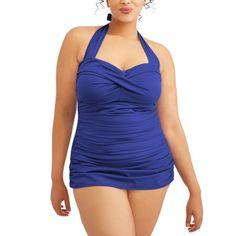 Women's Plus-Size Slimming Shirred Glam Sheath One-Piece Swimsuit