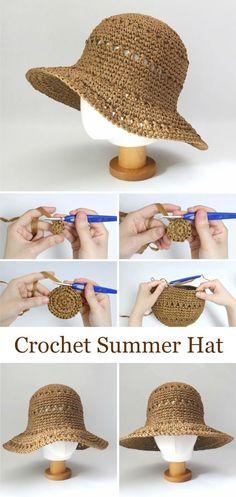 Crochet Summer Hats, Diy Crochet, Crochet Crafts, Tutorial Crochet, Crochet Ideas, Crochet Instructions, Macrame Tutorial, Crochet Flower, Love Crochet