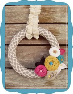 Spring Wreath-polka dots, rosettes, and ruffles. #wreaths