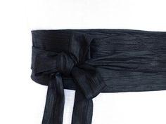 Crinkled Black, Haute Couture Fabric, Reversible Obi waist Belt Sash,  Cotton kimono reversible corset cincher wrap japanese asian wide 2a69c7edc04