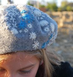 Embroidered beret--really cool idea