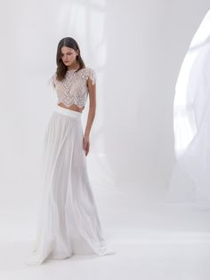 Off white crop top dress made with French lace, with a bateau neckline and a chiffon skirt, decorated with feathers on the sleeves Bridal Outfits, Bridal Wedding Dresses, Wedding Attire, Chiffon Skirt, Lace Skirt, Crop Top Dress, Little White Dresses, Bateau Neckline, French Lace