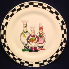 Chef Trisa TRS13 Dinner Plate Stoneware Discontinued 3 Chubby Chefs Black Checks #Trisa