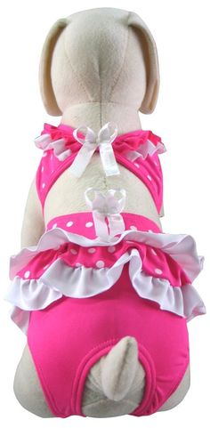 UP Collection Polka Dot Ruffled Dog Bikini, Pink and White => If you love this, read review now : dog clothes