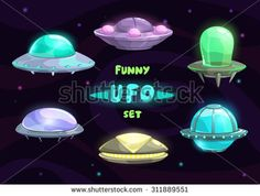 Cartoon fantastic ufo set, vector space collection