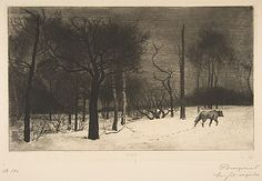Félix Bracquemond (French, 1833–1914). Winter (or Wolf in the Snow), 1864. The Metropolitan Museum of Art, New York. The Elisha Whittelsey Collection, The Elisha Whittelsey Fund, 1963 (63.625.12) #snow