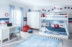 Children& room furnishings, inspiration, ideas and pictures homify Youth room Sailing bunk bed: Classic children& room from Annette Frank GmbH Boys Bedroom Furniture, Kids Bedroom, High Beds, Pull Out Bed, Baby Room Design, Toddler Rooms, Interior Exterior, Fashion Room, Boy Room