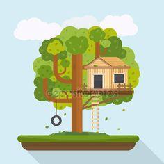 Trädkoja. Hus på träd för barn — Stockillustration #90143144