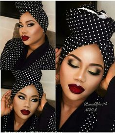 Lovely polka dot look My Hairstyle, Scarf Hairstyles, Makeup Black, Head Wrap Scarf, Head Scarfs, Scarves, Pelo Afro, African Head Wraps, Pelo Natural