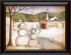 snowmen by the creek by billy jacobs 15x19 framed christmas art print by from the heart