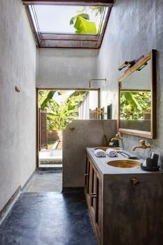 Masterful Clever Hacks Home Decor Elegant We didn't know how much we wanted a concrete bathroom until now. The gold accents, the view, we can' What's your favorite Outdoor Bathrooms, Dream Bathrooms, Beautiful Bathrooms, Luxurious Bathrooms, Small Bathroom, Hotel Bathrooms, Boho Bathroom, Industrial Bathroom, Master Bathrooms