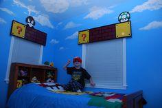 My son& new, fun Super Mario room. Lego Bedroom, Room Ideas Bedroom, Bedroom Themes, Kids Bedroom, Bedroom Decor, Super Mario Room, Guest Room Office, Cool Rooms, Boy Room
