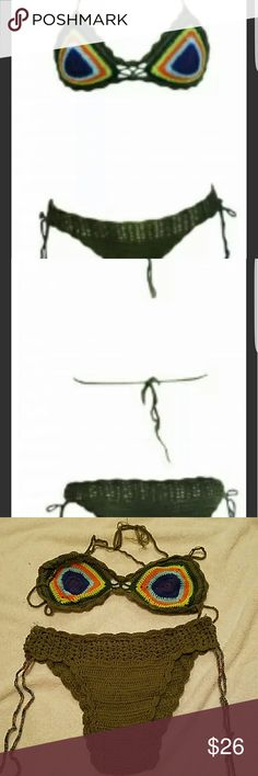 Peacock Crochet cotton swimmer. Minimal stretch, may fit medium  size 8. Beautifully hand made Swim Bikinis