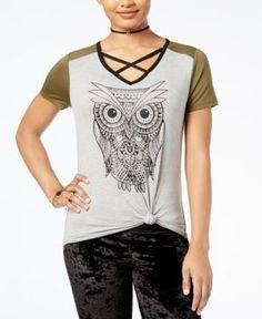 Rebellious One Juniors' Crisscross Owl Graphic T-Shirt - Gray XS