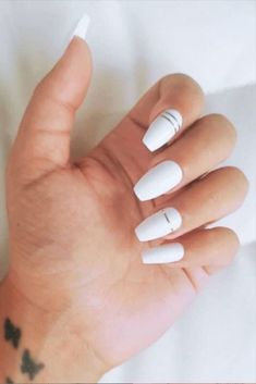 White Coffin Nails, Acrylic Nails Coffin Short, Simple Acrylic Nails, Summer Acrylic Nails, Best Acrylic Nails, Squoval Acrylic Nails, Matte White Nails, White Stiletto Nails, Rounded Acrylic Nails