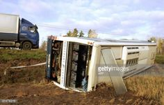 SAVITAIPALE, FINLAND: A damaged bus is seing off the road in... #savitaipale: SAVITAIPALE, FINLAND: A damaged bus is seing… #savitaipale