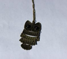 Chain linked bronze vintage style owl necklace by BaubsandBangs, $11.50
