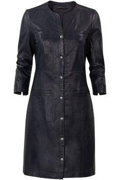 Leren jurk met zakken Donker blauw