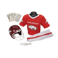 Proudly show the colors of everybody's favorite Arkansas football club with this children's uniform set by industry leader Franklin Sports. Optimized for kids aged 4-10, authentic-looking Razorback ge