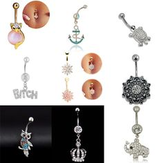 2016 Fashion Body Piercing Jewelry Cubic Crystal Gold Silver Owl Elephant Butterfly Crown Heart Belly Button Ring For Women