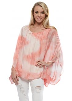 Monton Coral Watercolour Silk Top With Tie Dye Lining