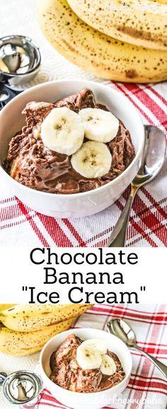 Healthier Chocolate Banana Ice Cream Vegan Ice Cream Vegan Banana Ice Cream Ice Cream Made With Bananas Nice Cream Recipe Chocolate Nice Cream Healthy Ice Cream Frozen Desserts, Vegan Desserts, Easy Desserts, Delicious Desserts, Yummy Food, Vegan Recipes, Frozen Treats, Chocolate Banana Ice Cream, Banana Nice Cream